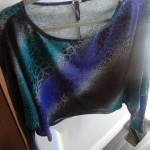 Leopard print blue and teal crop top